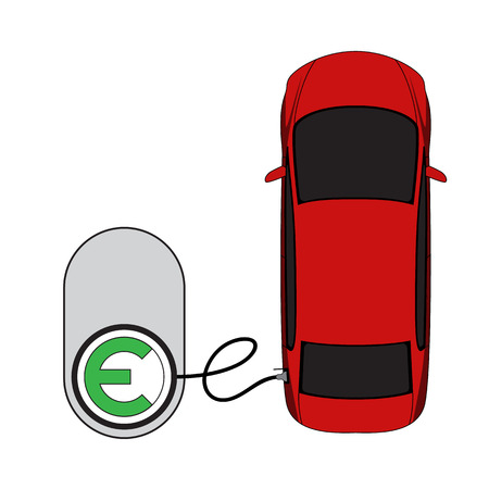 electric vehicle: Electric vehicle charging top view