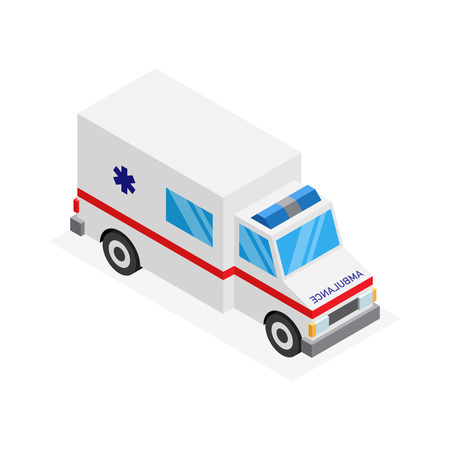 3d Isometric ambulance car isolated white background. Иллюстрация