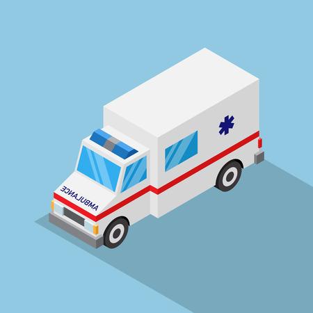 Isometric ambulance car on blue background.