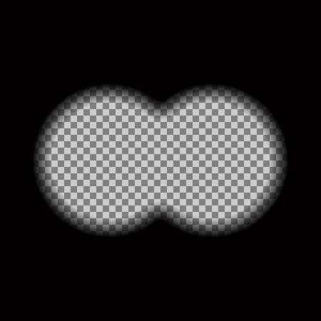 Binocular view transparent with soft edges. Design concept for film, web, graphic design.