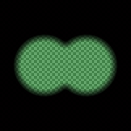 Binocular night green view transparent with soft edges. Design concept for film, web, graphic design.