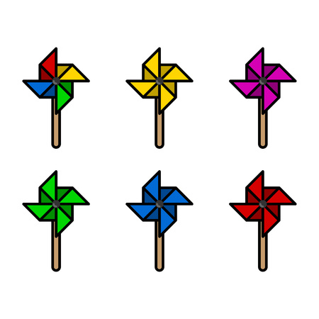 wind mill toy: Colorful paper windmills set with fat shape. Illustration