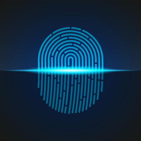 Fingerprint scanner sign blue color designed for your app, ux project.