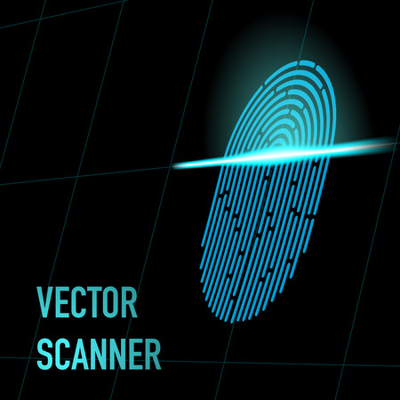Fingerprint scanner, blue color, 3d perspective with mesh. Hacker, security data concept 일러스트