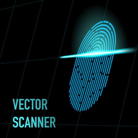 Fingerprint scanner, blue color, 3d perspective with mesh. Hacker, security data concept Иллюстрация