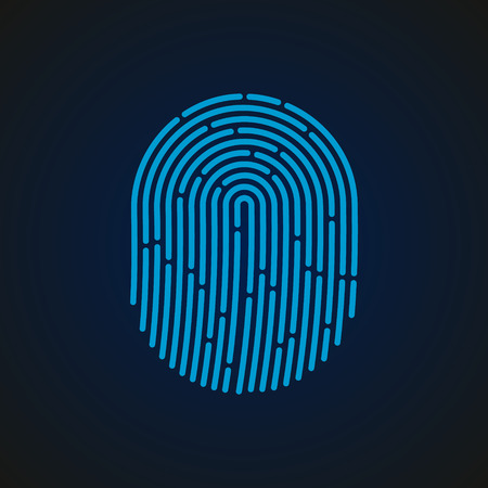 Fingerprint sign blue color designed for your app, ux project. 일러스트