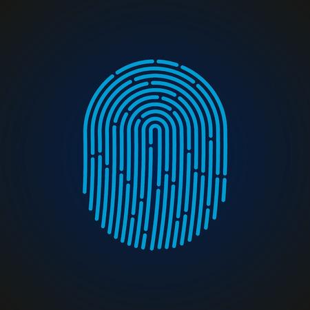 Fingerprint sign blue color designed for your app, ux project. Иллюстрация