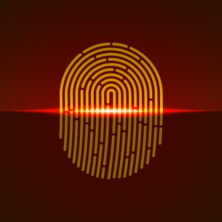 Fingerprint scanner orange color designed for your app, ux project.