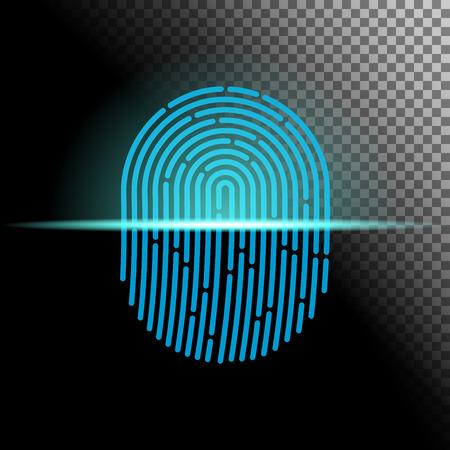 Fingerprint scanner transparent sign blue color designed for your app, ux project.