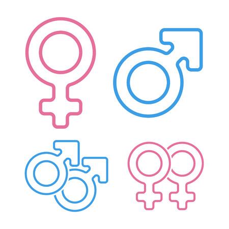 Color pink and blue gender symbols set.