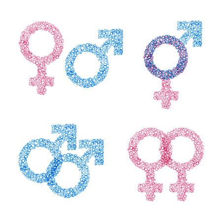 Male and female gender symbols set. Иллюстрация