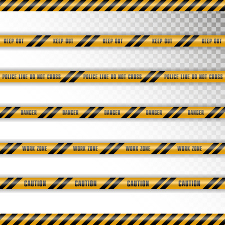 Set of caution tapes with shadow on transparent background. Keep out, police line, do not cross, danger, work zone, caution.
