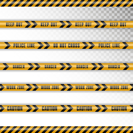 Set of 5 caution tapes with shadow on transparent background. Keep out, police line, do not cross, danger, work zone, caution with black arrows.