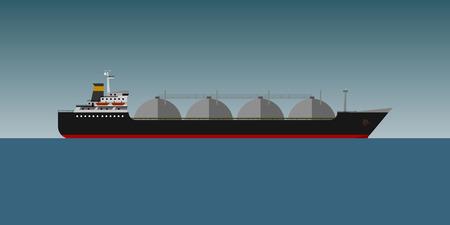 tanker: Gas tanker in sea flat design vector