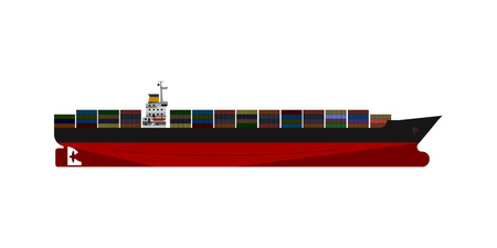 Container cargo ship isolated. Flat vector design.