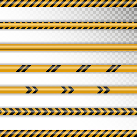 Set caution tapes on transparent background. Tapes with shadow and different tapes without signs. Fully editable file for your projects. Illustration