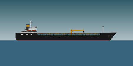 bulk carrier: Oil tanker in sea flat design. vector