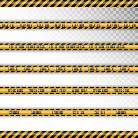 Set of 5 caution tapes with shadow on transparent background. Diagonal lines. Keep out, police line, do not cross, danger, work zone, caution.