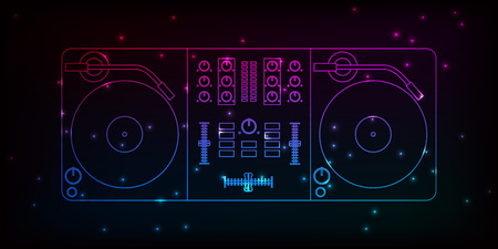 Neon dj mixer design with particles for your party