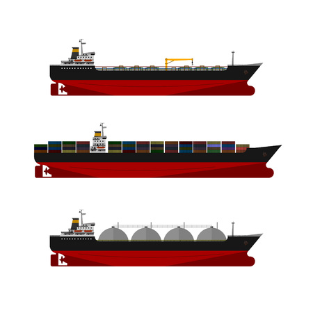 Cargo ships set. Oil, gas tanker. Container ship. Ilustracja