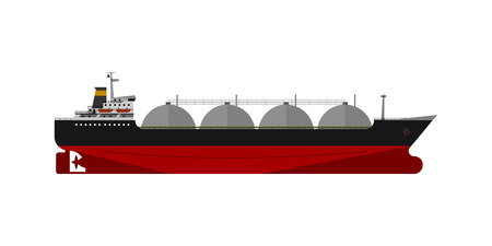 Gas tanker isolated flat design vector ship Illustration