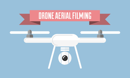 Vector illustration. Drone aerial filming badge with red ribbon. Designed for marketing