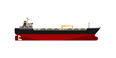 Oil tanker isolated flat detail vector design.
