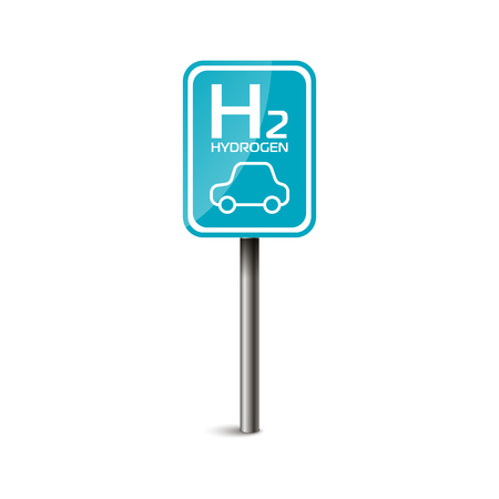 H2 hydrogen charge station fuel road sign. Vettoriali