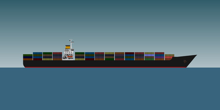 Container cargo ship is sea. Flat design.