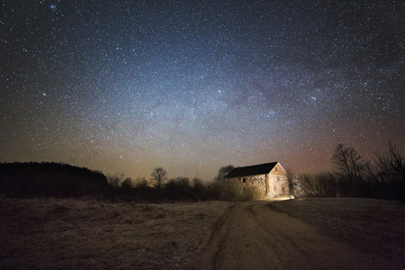 water mill: old water mill in the night Stock Photo