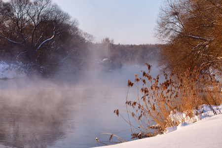 svisloch: Sunny winter morning on a river Svisloch, Belarus