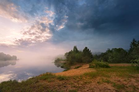 lightnings: Misty morning on the lake. Spring in Belarus