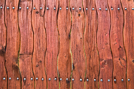 crook: Wooden curved fence of brown color. Burned wood. Wood Texture Background old panels Stock Photo