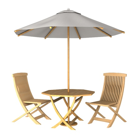 Parasol and deck chairs on white