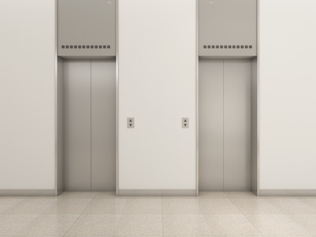 elevators with white wall photo