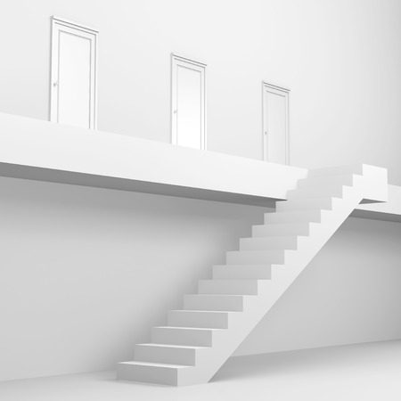 wooden stairs: The door made from 3dcg