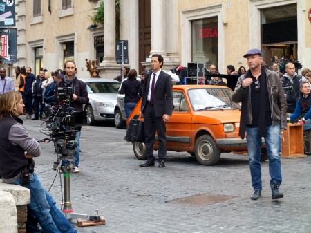 Rome, Italy - October 30, 2012 - Actor Adrien Brody and director Paul Haggis on the filmset of