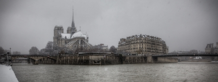 Notre-Dame de Paris Winter Scene, Paris, France Stock Photo