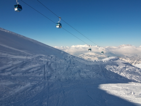 Cable Gondolas over the Swiss Alps