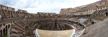 Rome, Italy - October 28, 2012 - Panorama of the Interior of the Colosseum Arena in Rome, Italy Editorial