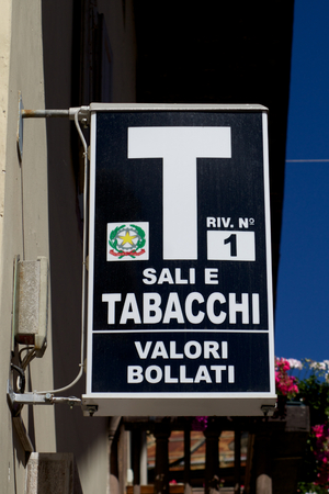 Official Italian Tobacco Shop Sign Editorial