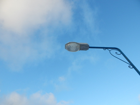 December sky and street lamp