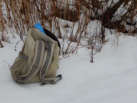 knapsack: Winter tourism in Russia Stock Photo