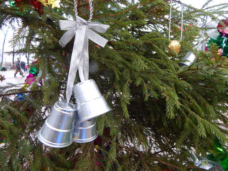 silver bells: Silver bells on Christmas tree Stock Photo
