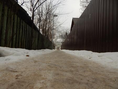 winter road: Winter road between fences