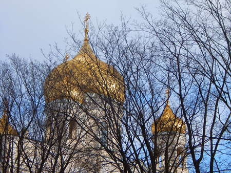 goldish: Russian church with goldish domes behind trees Stock Photo
