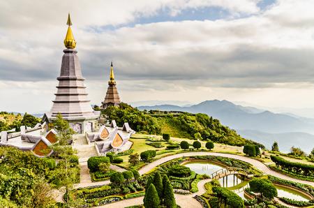 phon: Landscape of two pagodas Noppamethanedol & Noppapol Phumsiri in an Inthanon mountain,Chiang Mai, Thailand. Editorial