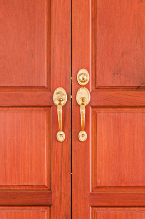 knobs: Gold knobs with keyhole on wooden doors