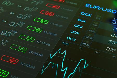 Financiële investeringen zakelijke zwarte achtergrond. Trade Forex grafiek. Forex bedrijf. Handelde wisselkantoor Forex. Handelde fiinancial markt collage. Financiële abstracte grafiek en getallen. euro Dollar Stockfoto - 59878789