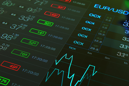 financial market: Financial investment business black background. Trade Forex chart. Forex business. Trading currency exchange Forex. Trading fiinancial market collage. Financial abstract chart and numbers. Euro Dollar Stock Photo